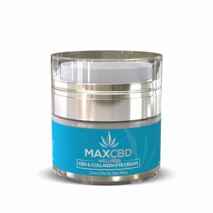 Front side of MaxCBD Wellness's CBD & Collagen Eye Cream on a white background.