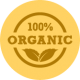 Orange badge depicting sign of organically made products by MaxCBD Wellness